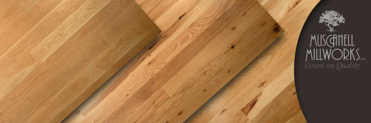 Hardwood flooring in species like red oak, white oak, hickory, walnut and cherry